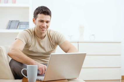Guy using computer