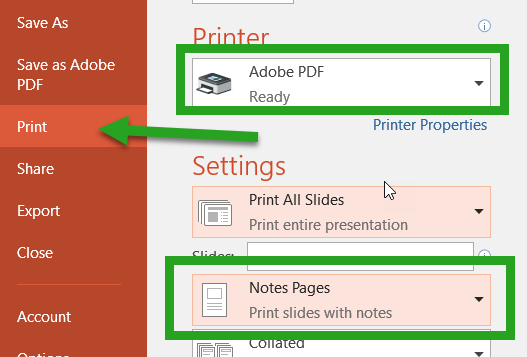 PowerPoint to Notes in PDF