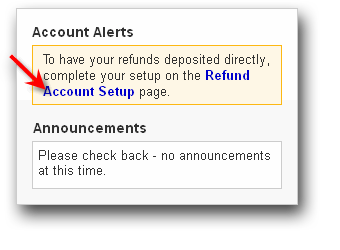 image of Refund Account Setup button