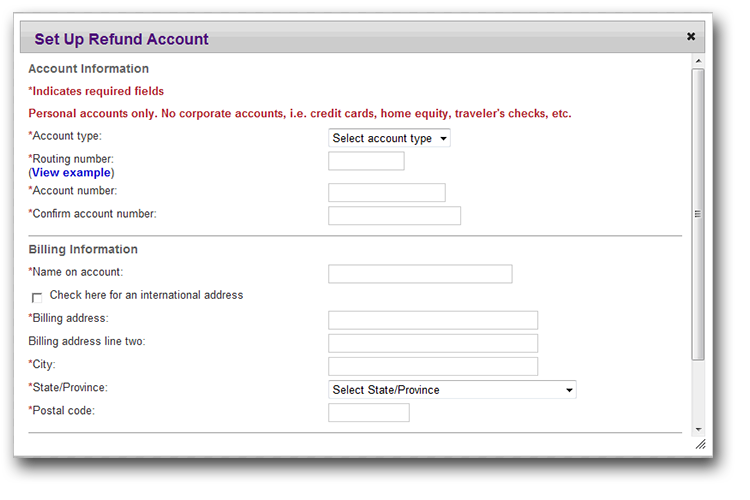 image of the Refund Account form