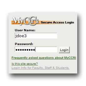 image of the login for MyCCRI