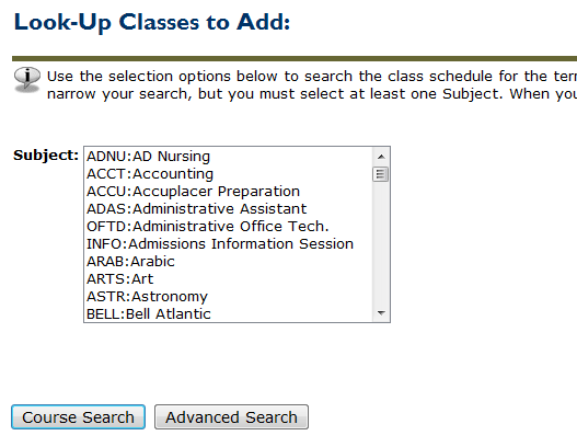 look-up classes to add