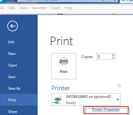 image of the printer options