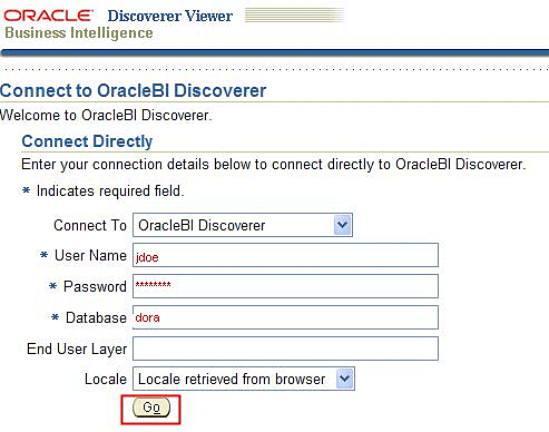image of Discoverer login screen