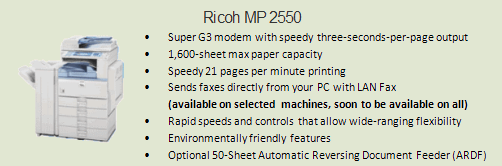 Ricoh 2550 copy machine, Room 0070 (VP of Student Affairs)