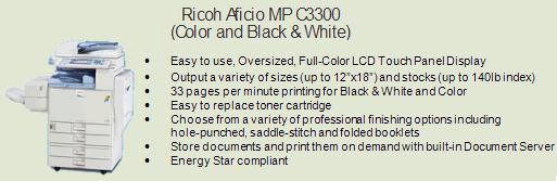 Ricoh 3300c color copy machine, Room 1050 (Bursar)