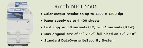 Ricoh MP C5501 color copy machine, VP of Acadademic Affairs, Room 4230