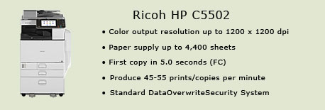 Ricoh MP C5502 color copy machine, Academic Affairs