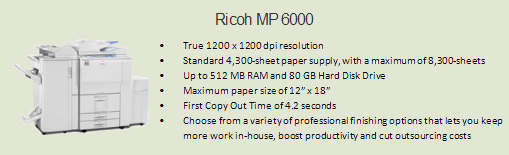 Ricoh 6000 copy machine, Room 0036 (Enrollment Services)