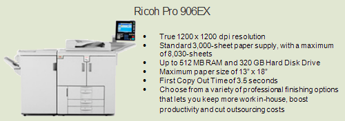 Ricoh 906ex copy machine, Room 3085 (Adjunct Faculty Area)