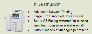 Ricoh 4000 copy machine, Room 0014 (Financial Aid)