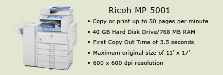 Ricoh MP 5100 copy machine, Room 2112 (Academic Computer Lab)