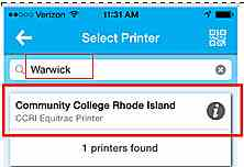 Personal Printing Mobile - Search for Warwick