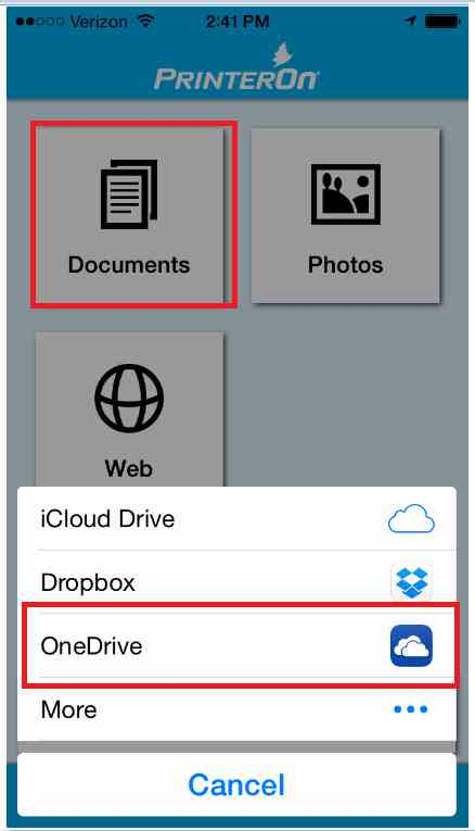 Personal Printing Mobile - Select OneDrive