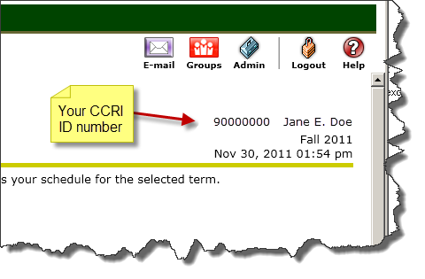 MyCCRI screen shot, showing CCRI ID number