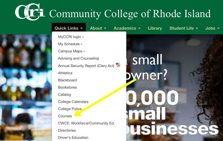CCRI Home page showing link to Availabe Courses page