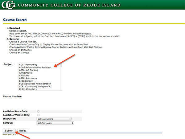 Course Search - Community College of Rhode Island