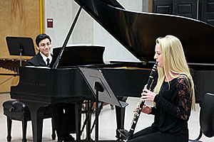 Student musicians perform piano/clarinet duet